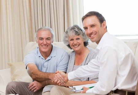 Family with Insurance Agent